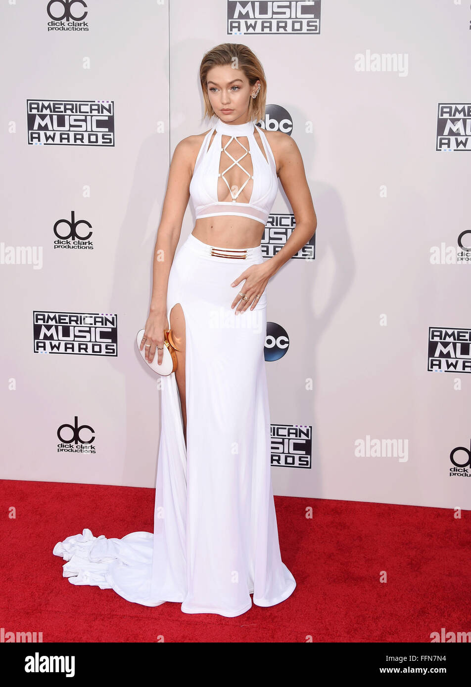 Model Gigi Hadid arrives at the 2015 American Music Awards at Microsoft Theater on November 22, 2015 in Los Angeles, Stock Photo