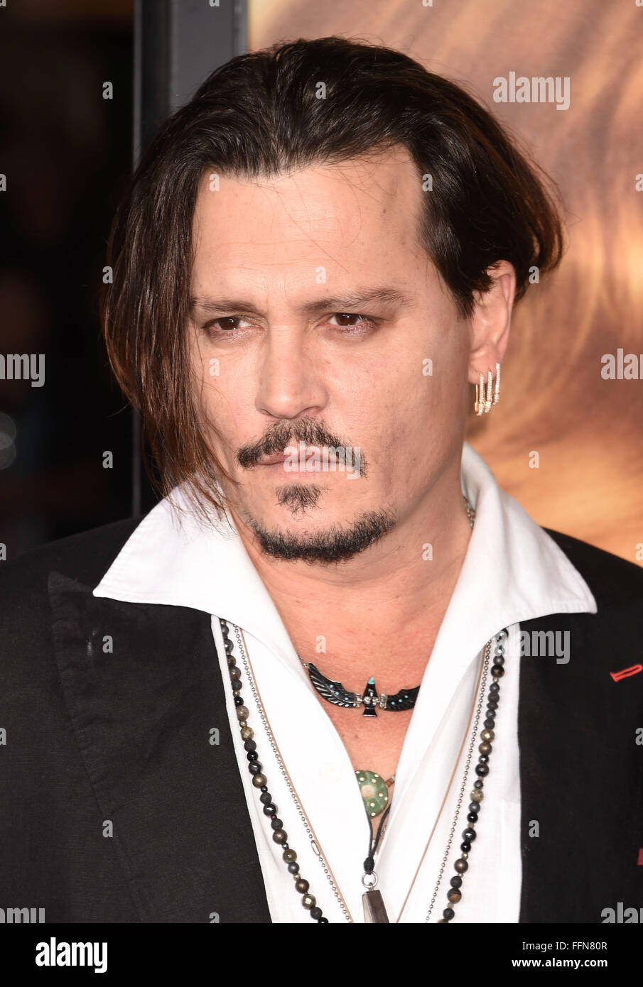 Actor Johnny Depp arrives at the premiere of Focus Features' 'The Danish Girl' at Westwood Village Theatre - Stock Image