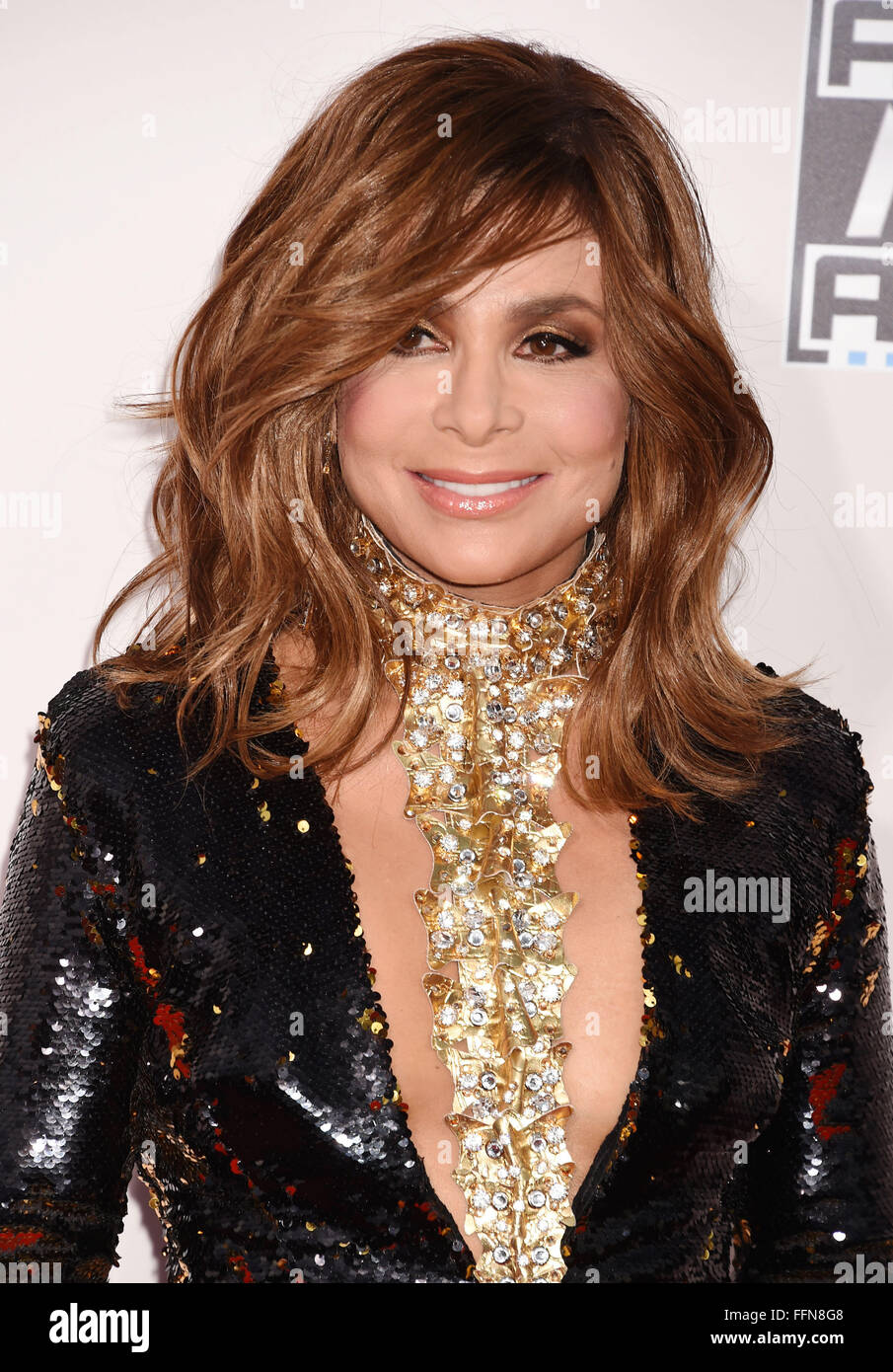 Singer/dancer Paula Abdul arrives at the 2015 American Music Awards at Microsoft Theater on November 22, 2015 in - Stock Image