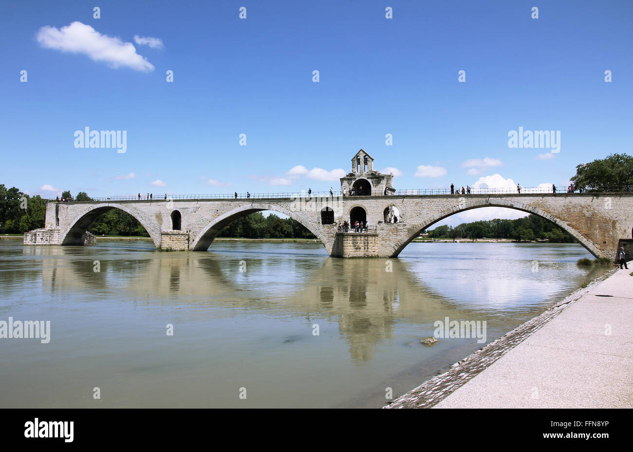 geography / travel, France, Avignon, bridges, Pont St Benezet, Rhone River, Additional-Rights-Clearance-Info-Not - Stock Image