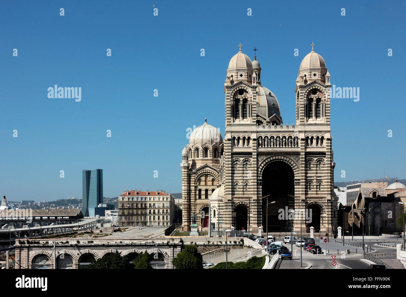 geography / travel, France, Marseille, CGA CGM building by Zaha Hadid and Cathedrale de la Major, exterior view, - Stock Image
