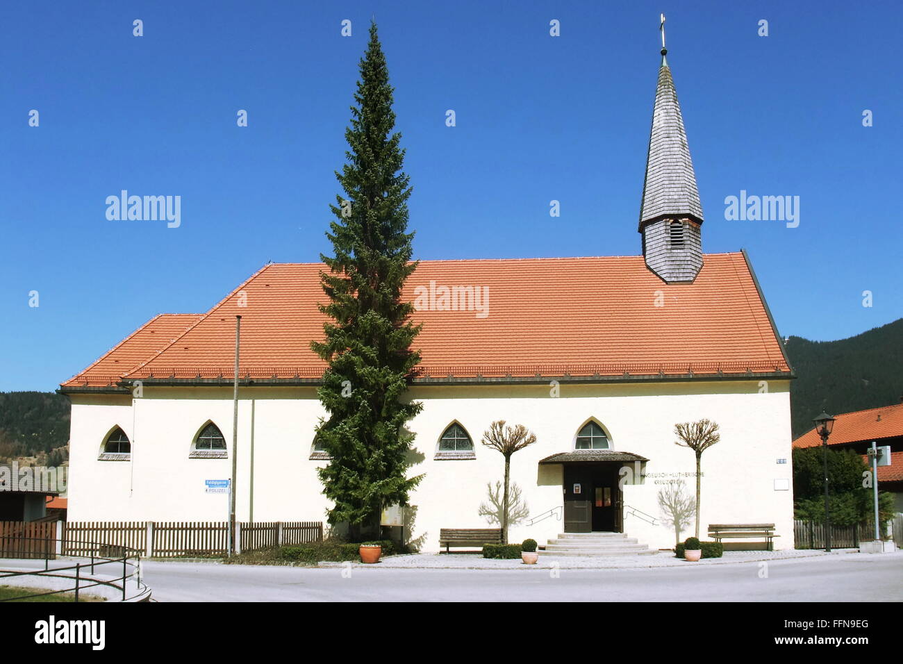 geography / travel, Germany, Bavaria, Oberammergau, Protestant Lutheran Church of the Holy Cross, exterior view, - Stock Image