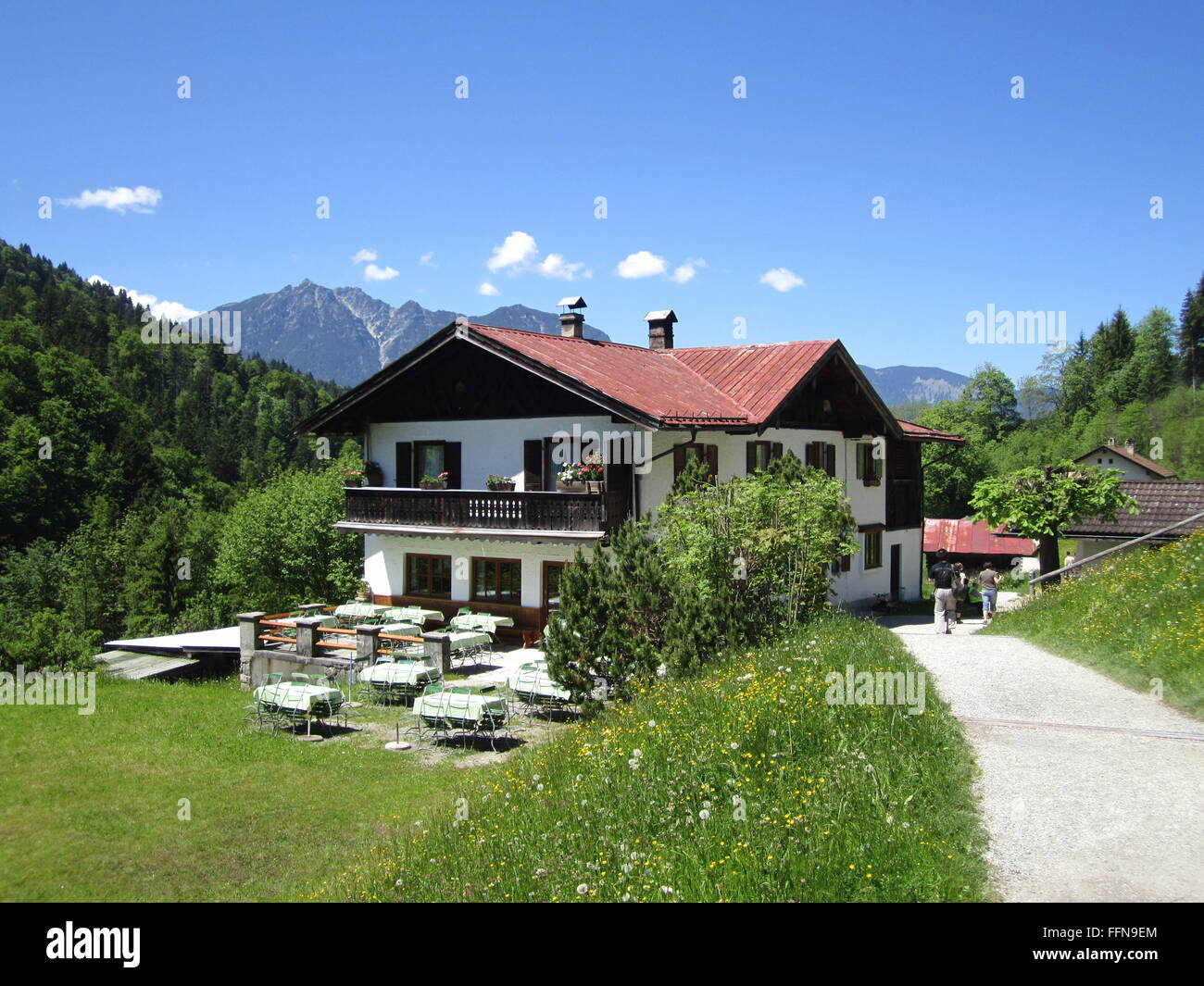 geography / travel, Germany, Bavaria, landscapes, Rein Valley, alpine dairy 'Wetterstein', Additional-Rights - Stock Image