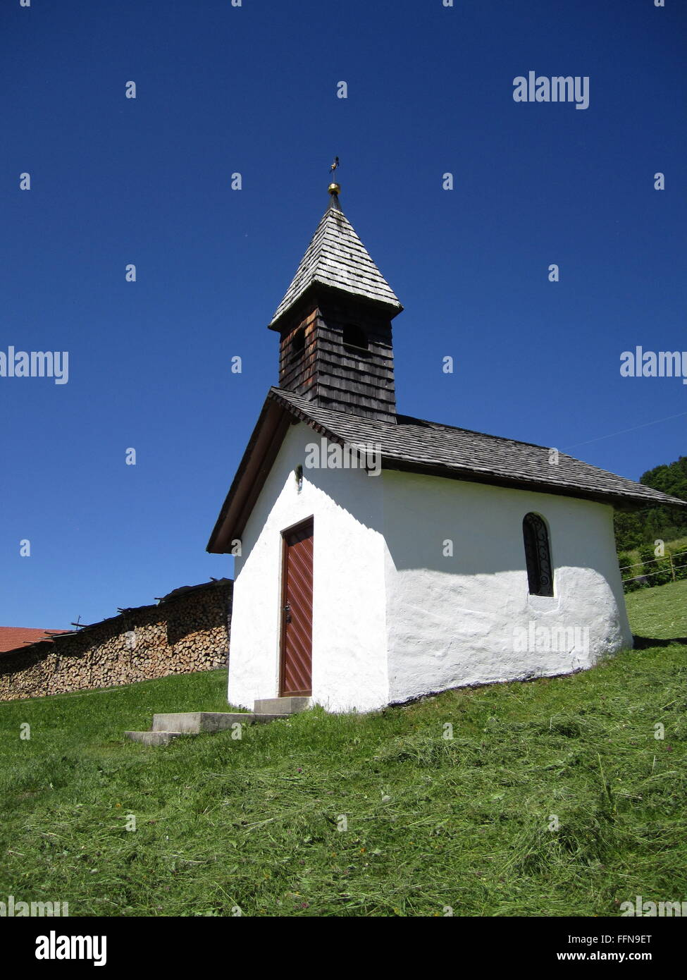 geography / travel, Germany, Bavaria, landscapes, Rein Valley, alpine dairy 'Hanneslabauer', chapel, Additional - Stock Image