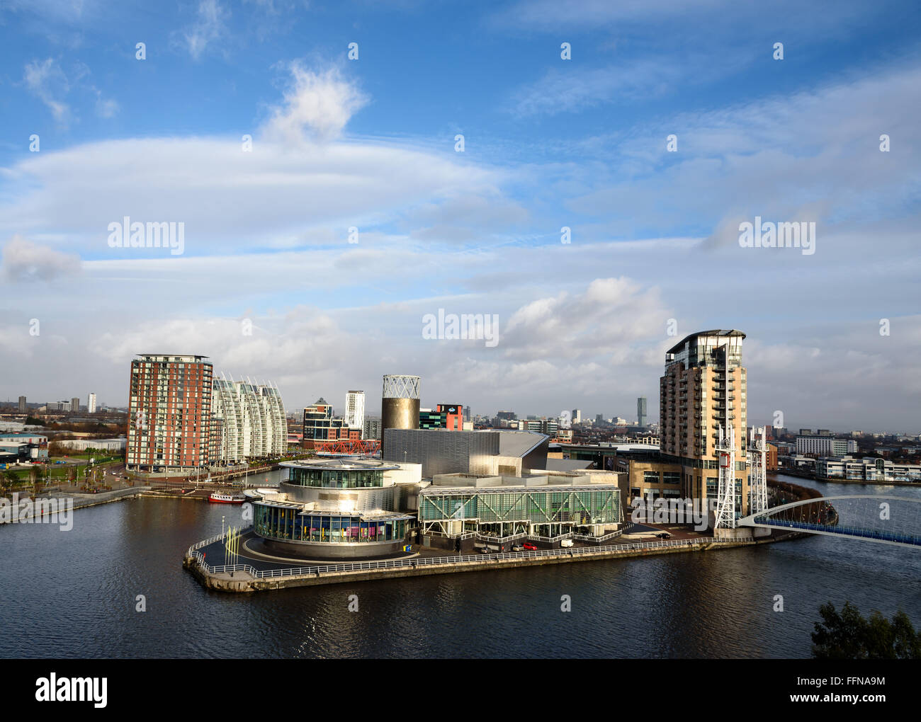 Aerial view of media city, Lowery theater at Salford Quays, Manchester, England. - Stock Image
