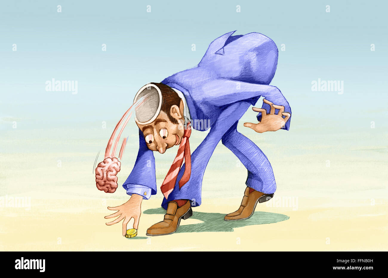 a man as he bends to pick up a coin loses brain - Stock Image