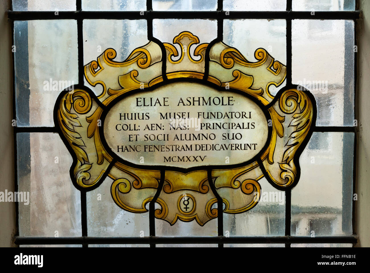 Founder 's – Elias Ashmole – stained glass window at Museum of the History of Science (The Old Ashmolean Building) - Stock Image