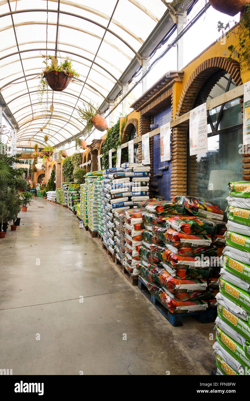 Garden centre, offering plants compost, fertilizers, Spain. - Stock Image