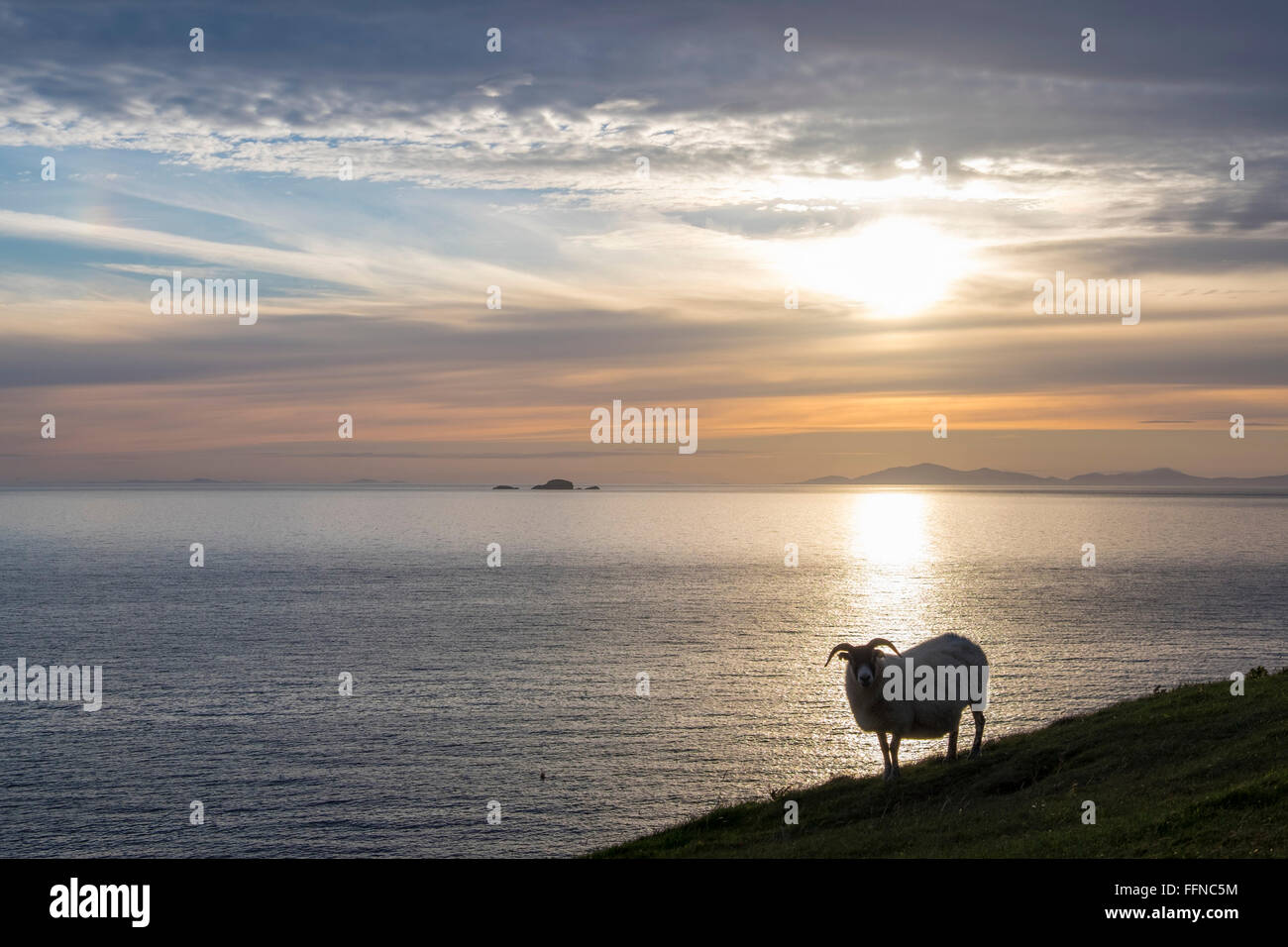 blackface silhouette and the minch looking to outer hebrides - Stock Image