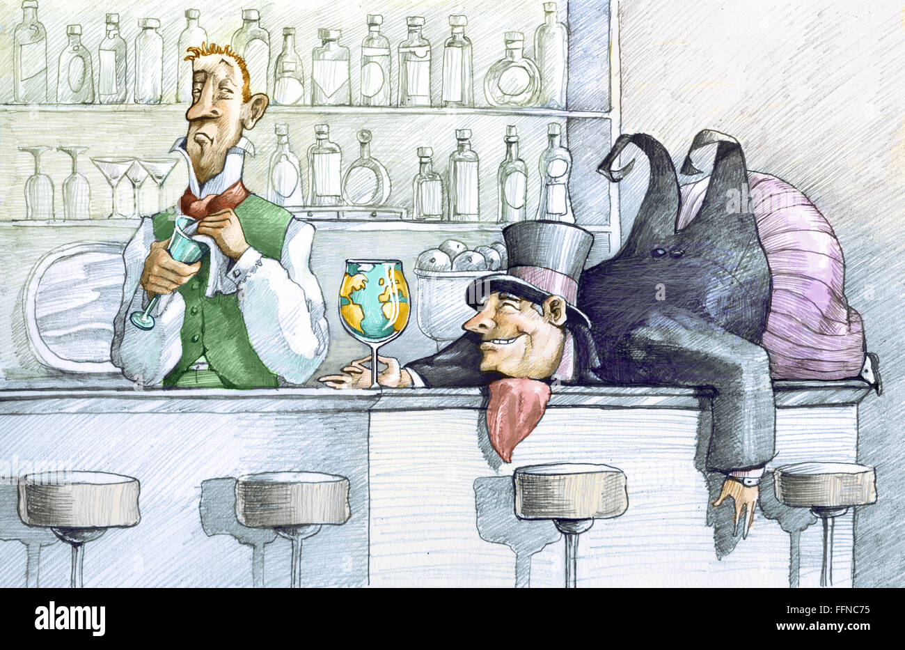 a greedy drunk fat man lying on a bar counter holding a glass globe, the bartender looks at him with undisguised - Stock Image