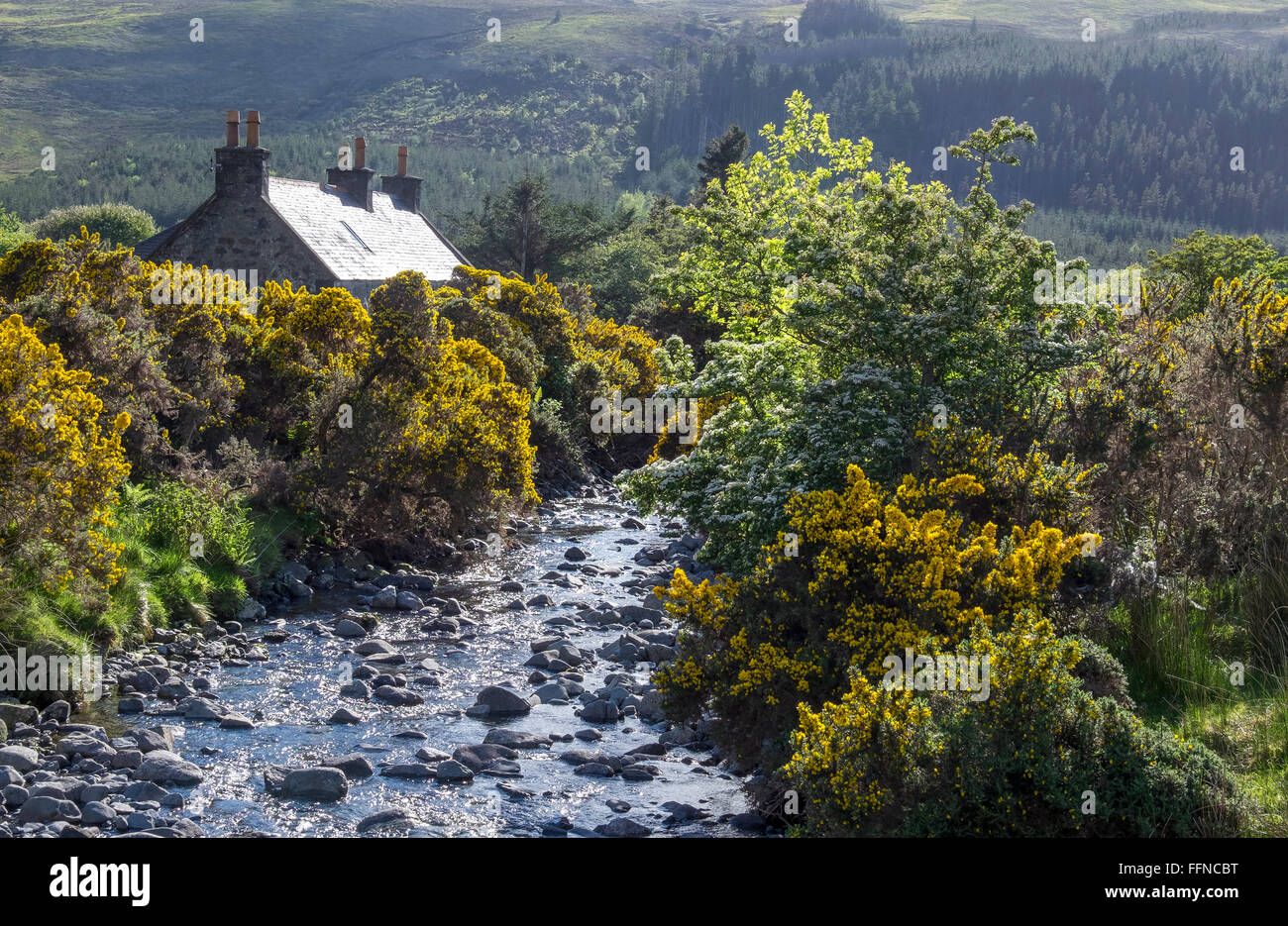 cottage at glen brittle with stream - Stock Image