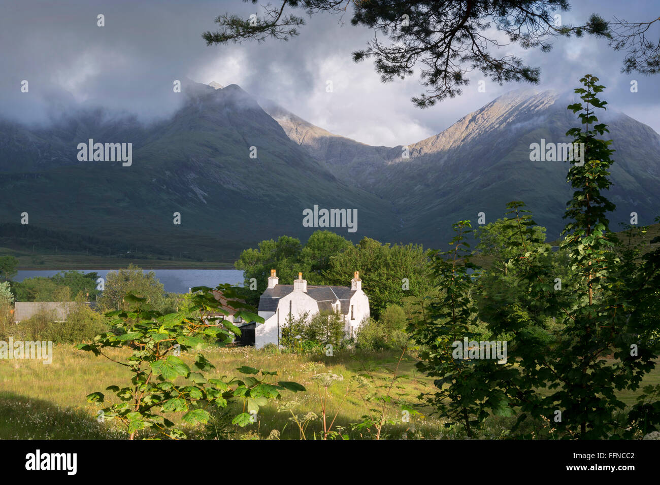 cottage house traditional rural secluded peaceful - Stock Image
