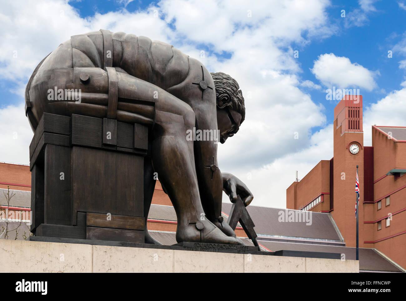 Eduardo Paolozzi's statue 'Newton' outside the British Library, London, England, UK - Stock Image