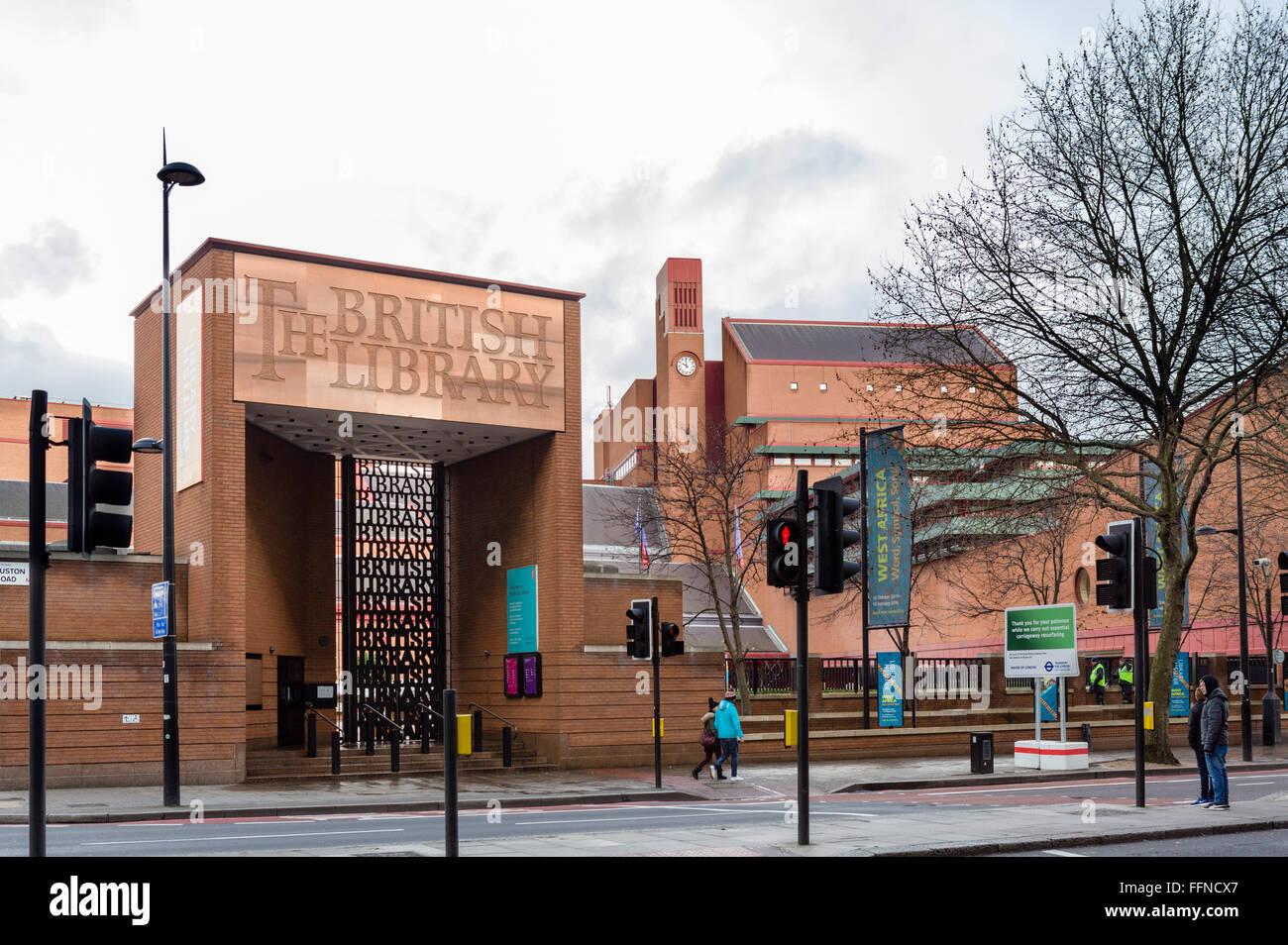 Entrance to the British Library on Euston Road, London, England, UK - Stock Image