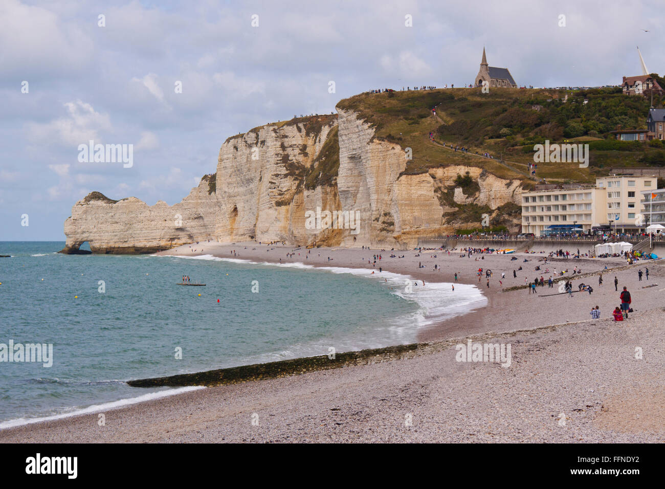 Etretat Beach in Normandy - Stock Image
