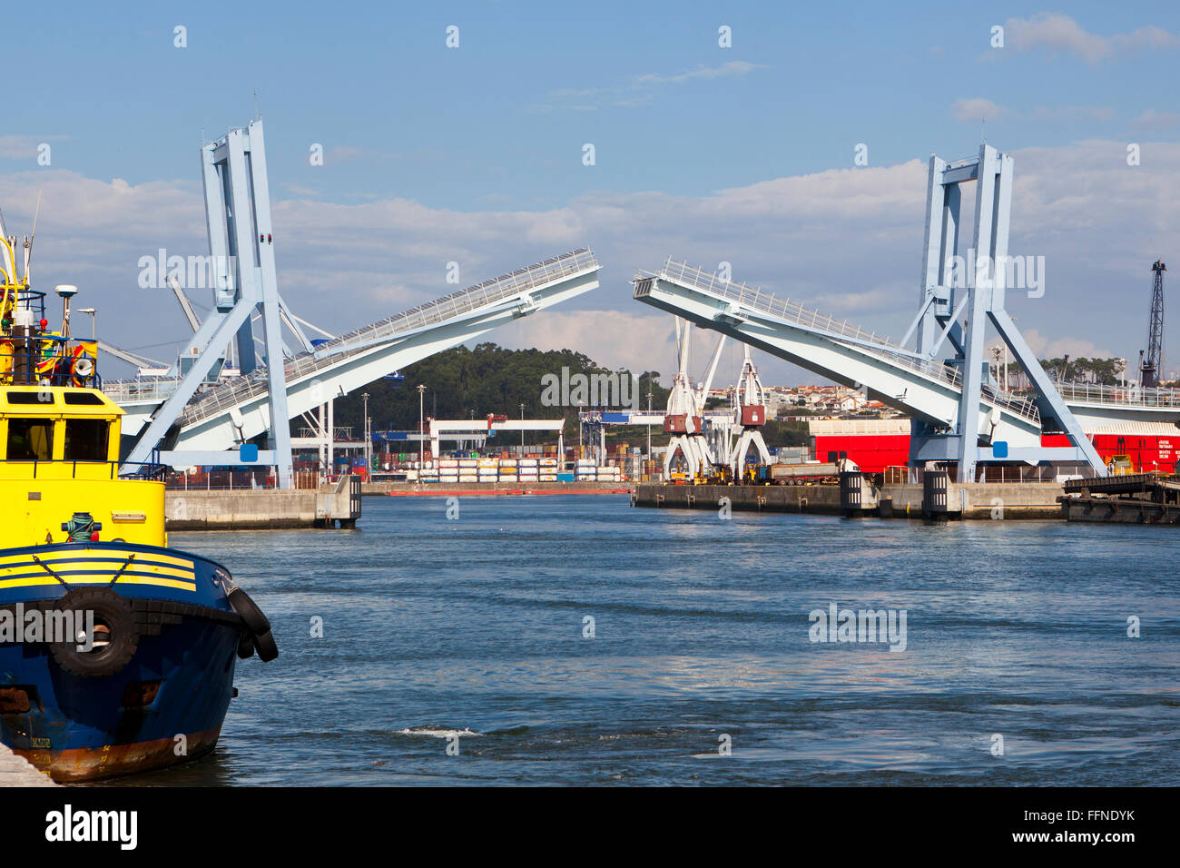 Commercial Dock with a Drawbridge - Stock Image