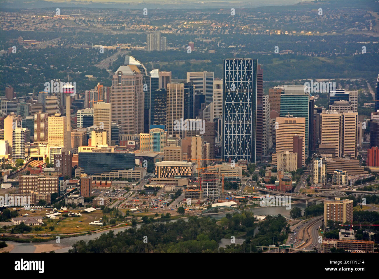 Calgary downtown, Aerial view - Stock Image