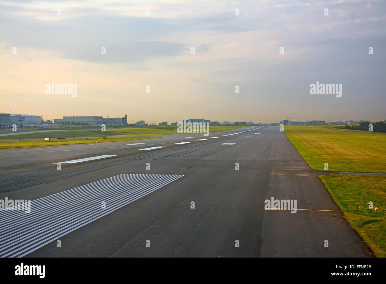 Empty  airport runway, Canada - Stock Image