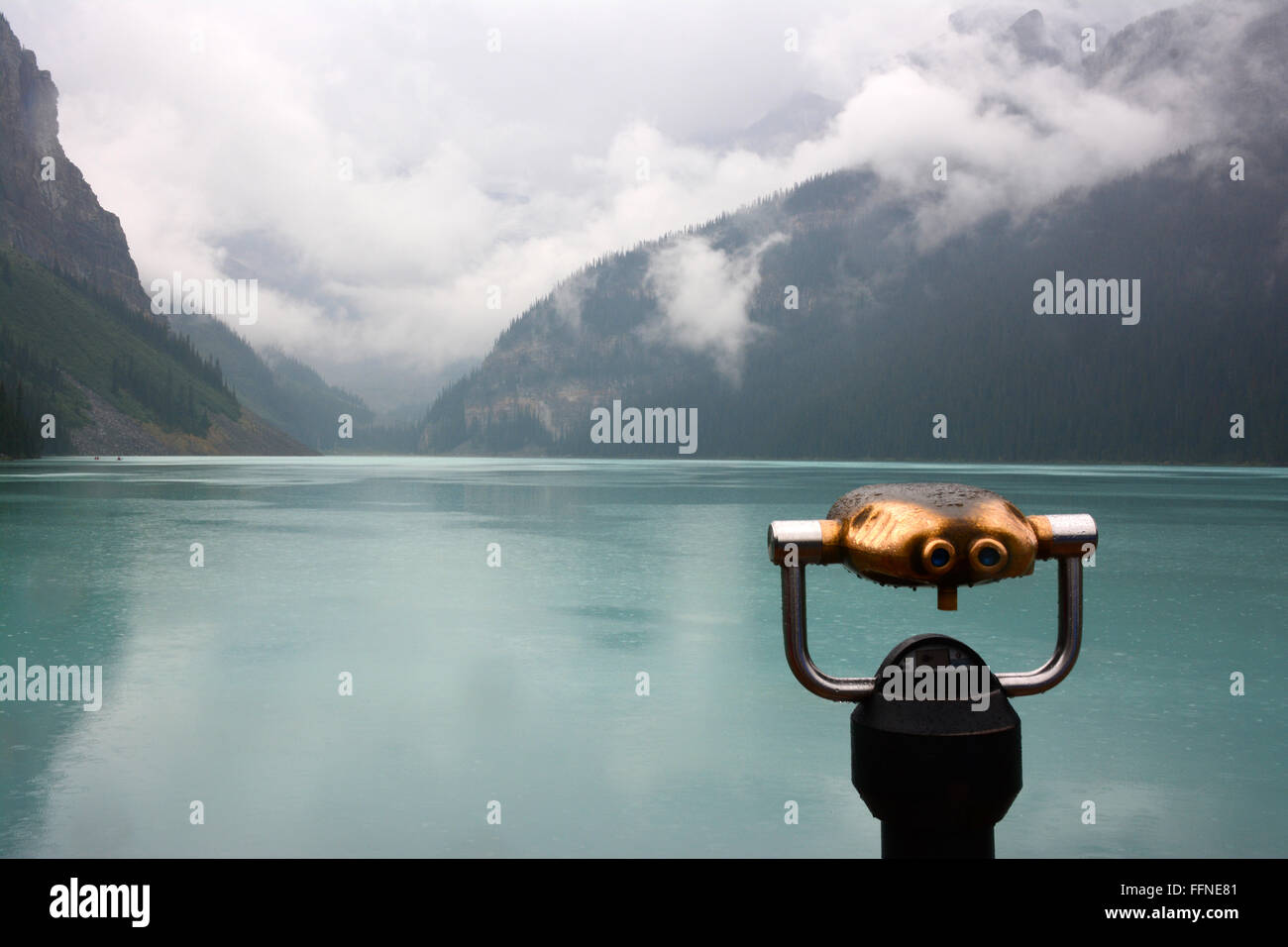 Lake Louise  in rainy day - Stock Image