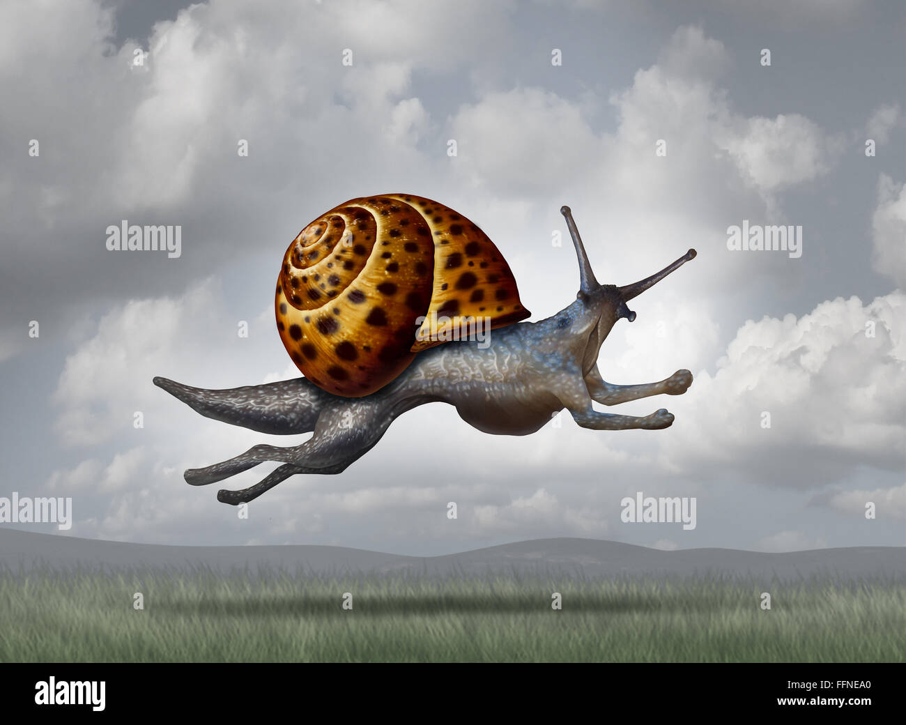 Transforming for success as a business concept for adapting and evolving for a more aggressive strategy as a snail - Stock Image