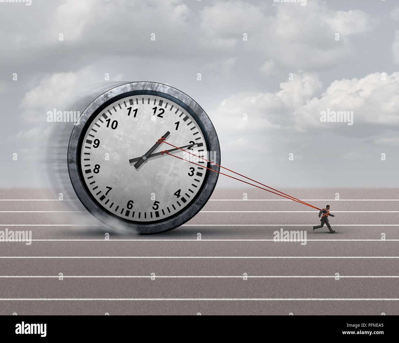 Time burden business concept as a burdened businessman or employee pulling a heavy clock as a symbol for deadline - Stock Image