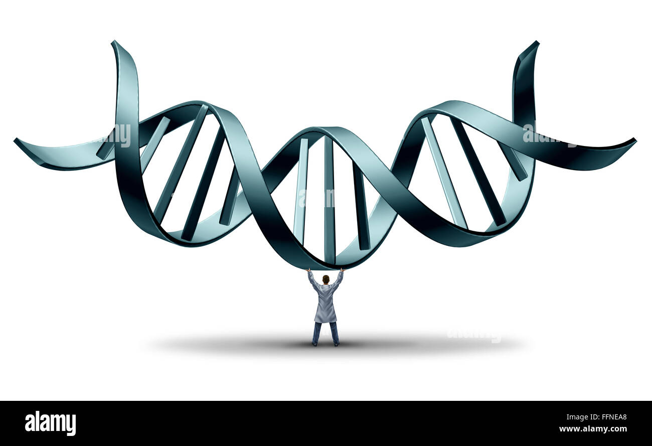 Dna Doctor Geneticist Holding Up A Double Helix As A Medical Science