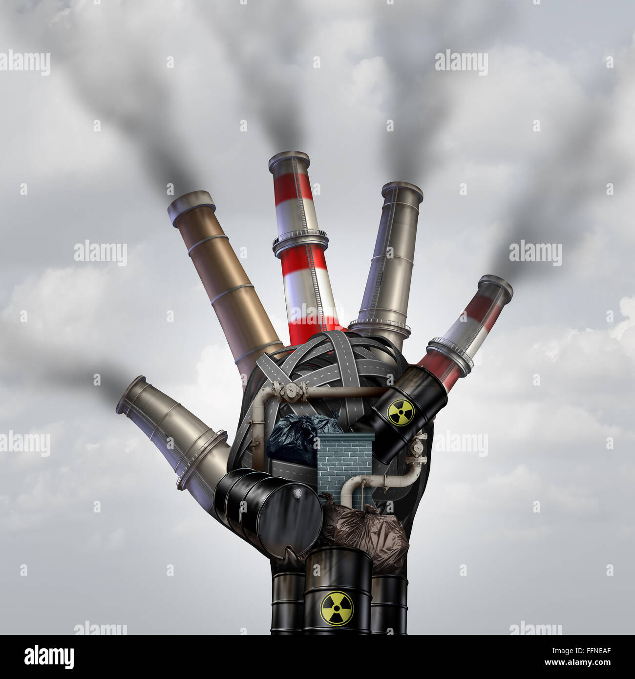 Man made pollution toxic smoke stop symbol as a dirty industrial factory with garbage smoke stacks and a petrochemical - Stock Image