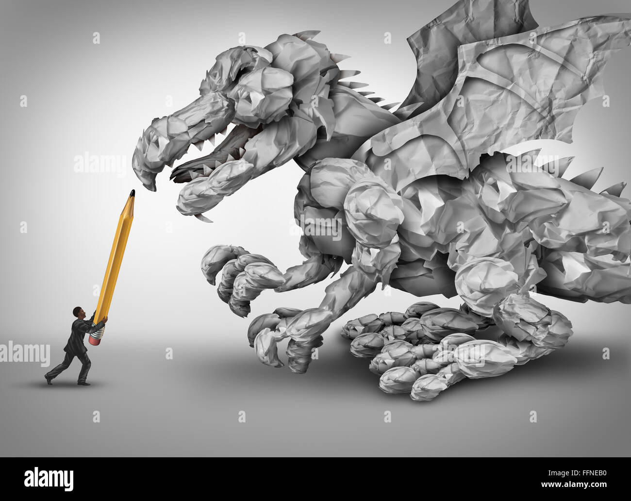 Paper stress business concept as a businessman holding a pencil fighting a dragon monster shaped with crumpled papers - Stock Image