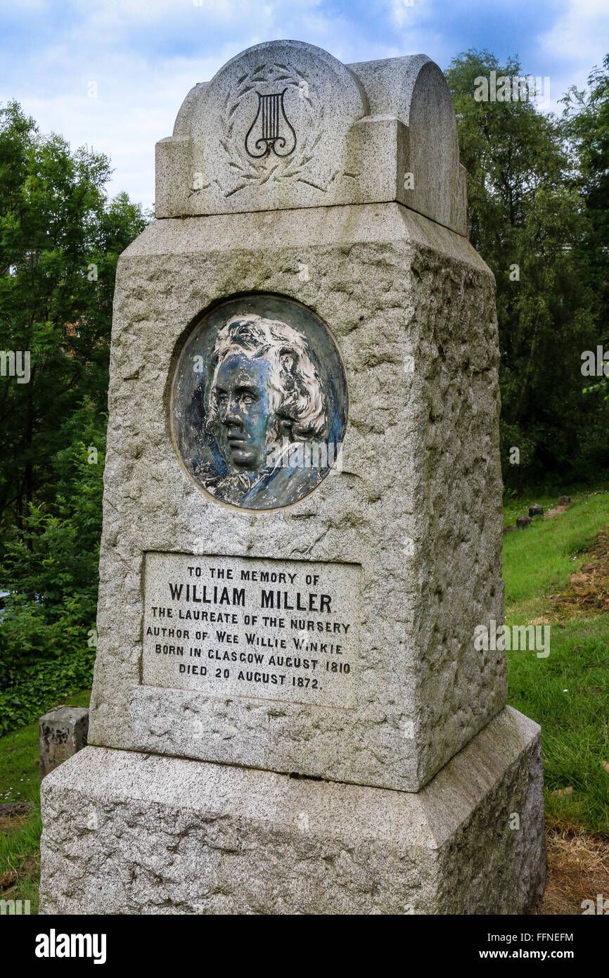 Memorial to William Miller, Scottish Poet and author of the  nursery rhyme Wee Willie Winkie, Necropolis, Glasgow, - Stock Image