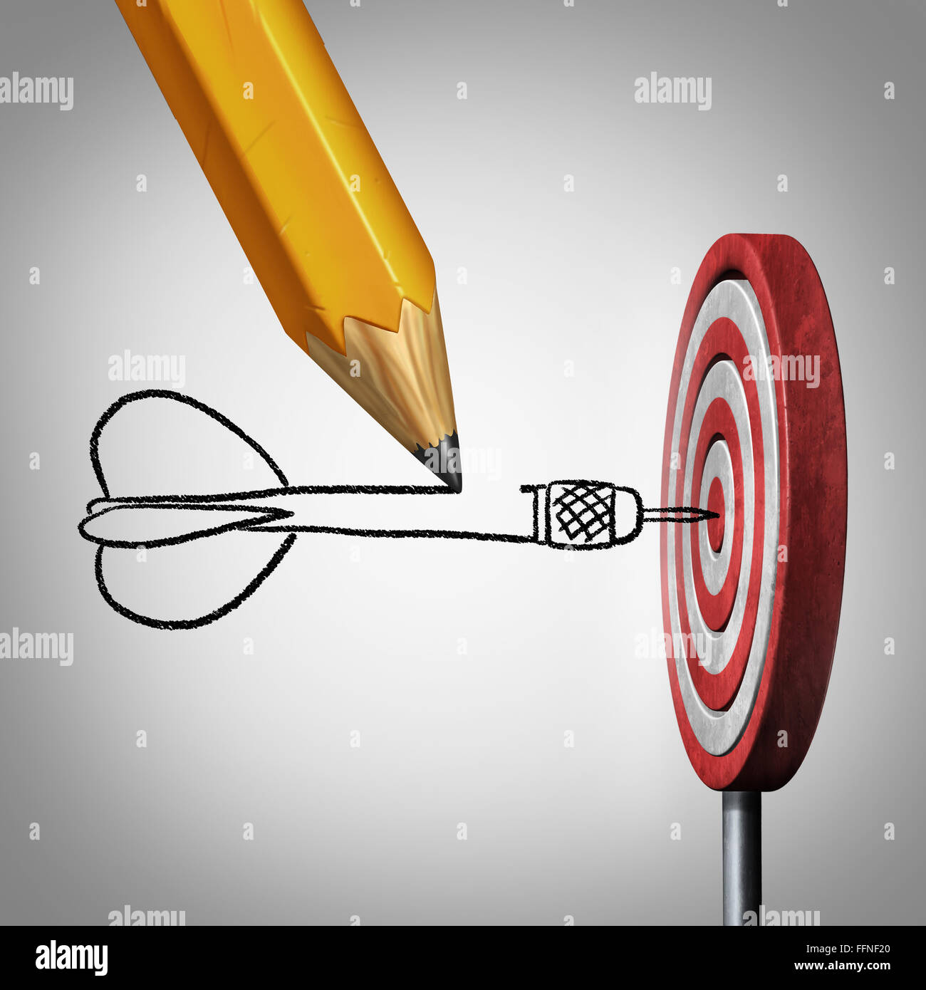 Success goal planning business concept as a pencil drawing a dart hitting the center of a target on a dartboard - Stock Image