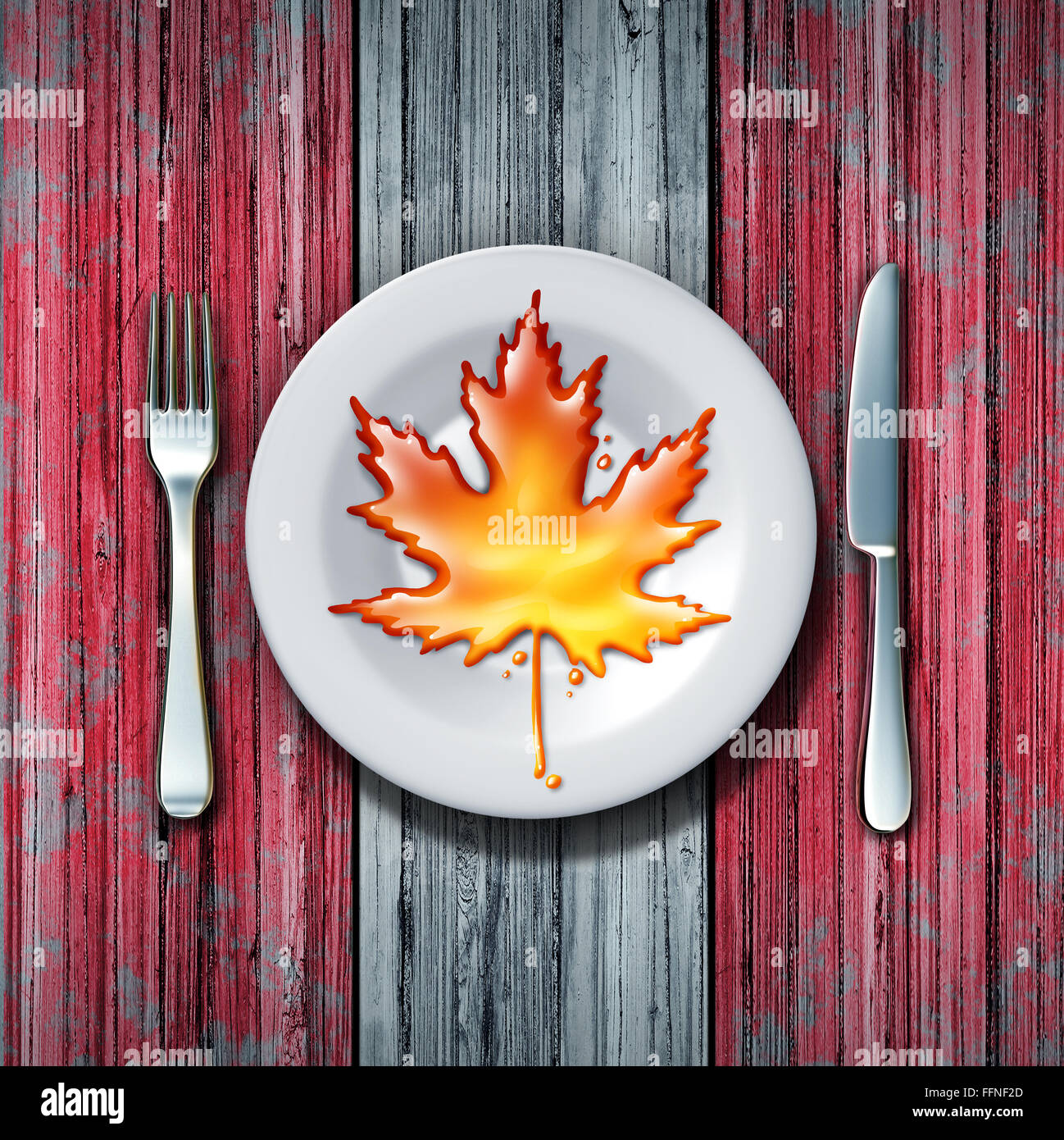 Canadian maple syrup leaf on a plate with fork and knife as a sweet golden brown delicious liquid representing a - Stock Image
