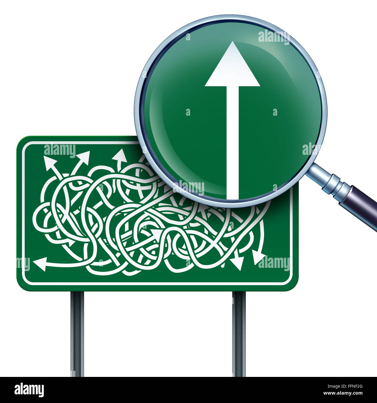 Success vision business concept as a highway road sign with confused twisted direction arrows and a magnifying glass - Stock Image