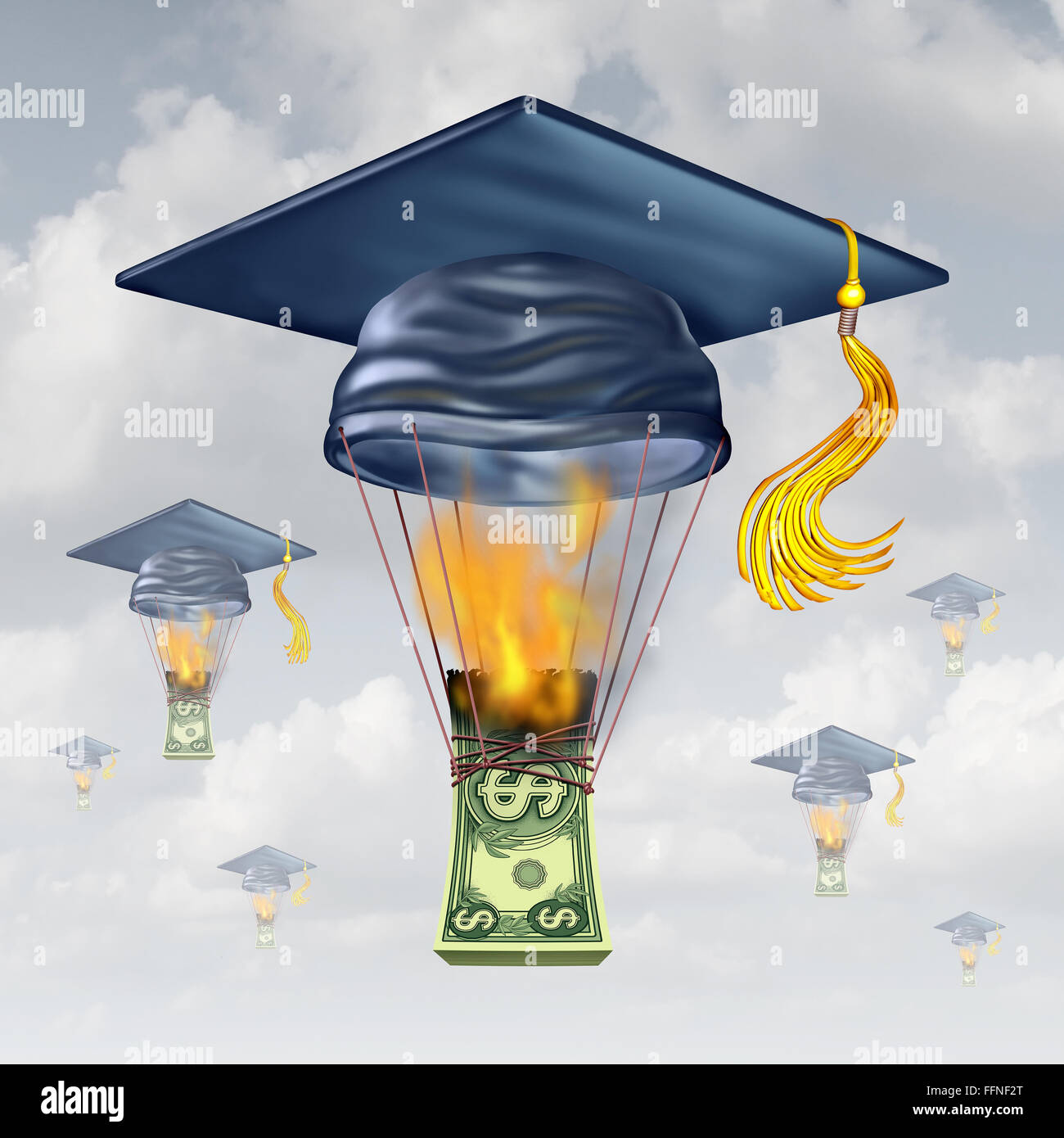 Education cost and high school fees as a graduation hat shaped as a hot air balloon being lifted up by the flames - Stock Image