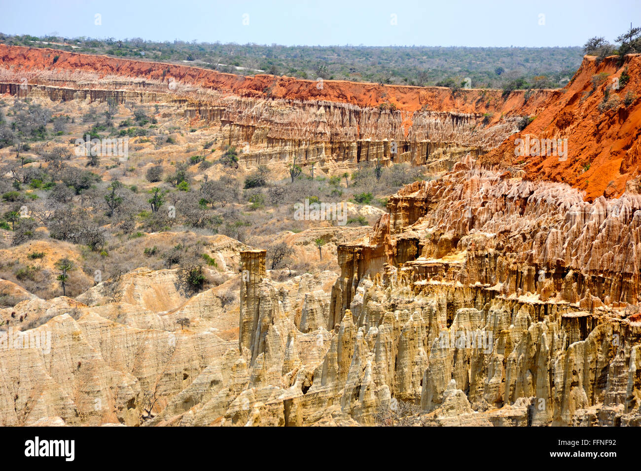 Miradouro da Lua is a set of cliffs 40 km south of Luanda, Angola. Over time, erosion caused by wind and rain creating - Stock Image