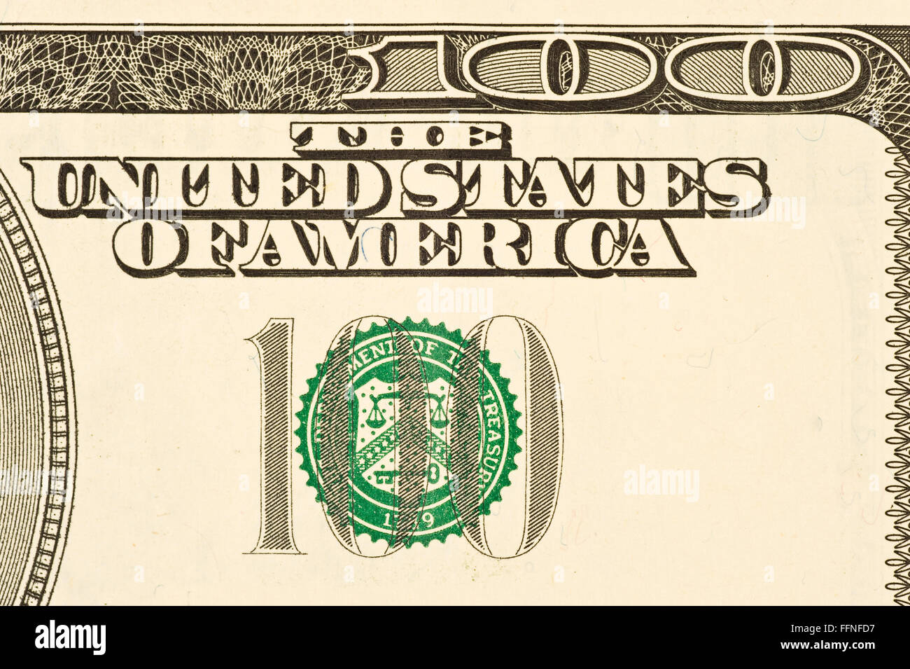 Hundred Dollar Bill Detail - Stock Image