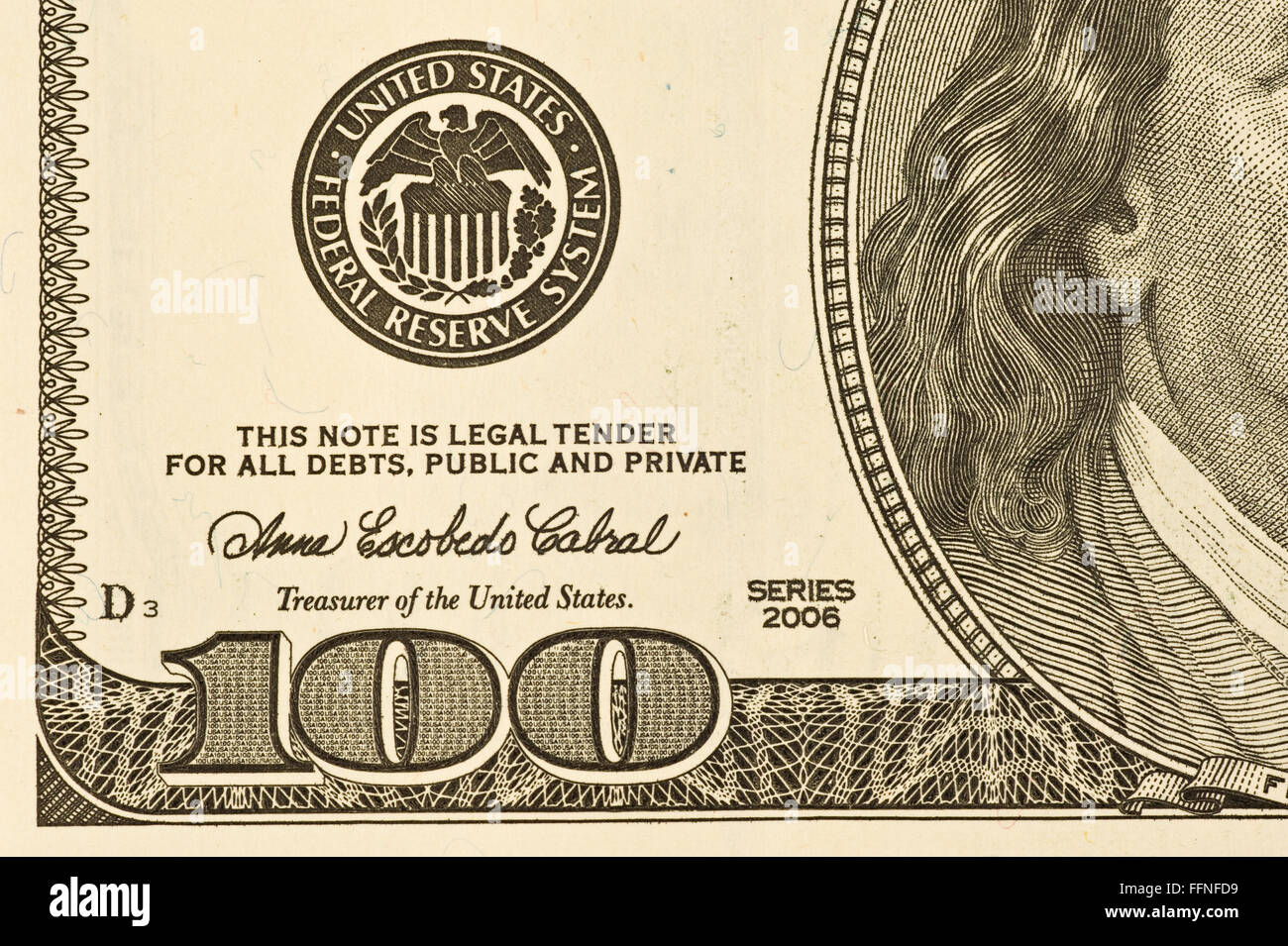 Hundred Dollar Bill Lower Left Corner - Stock Image