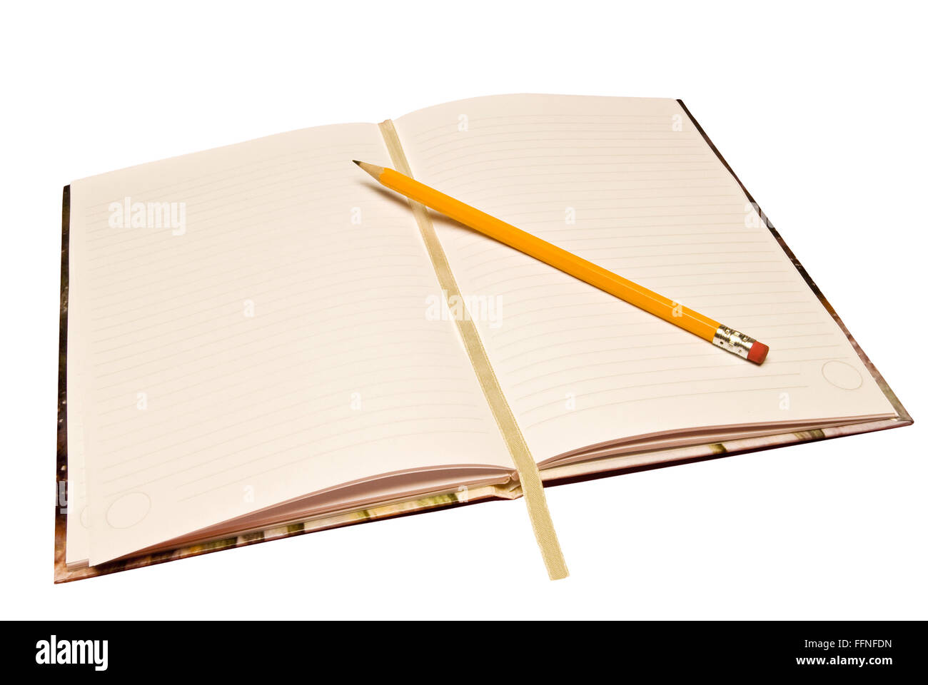Journal With Pencil - Stock Image