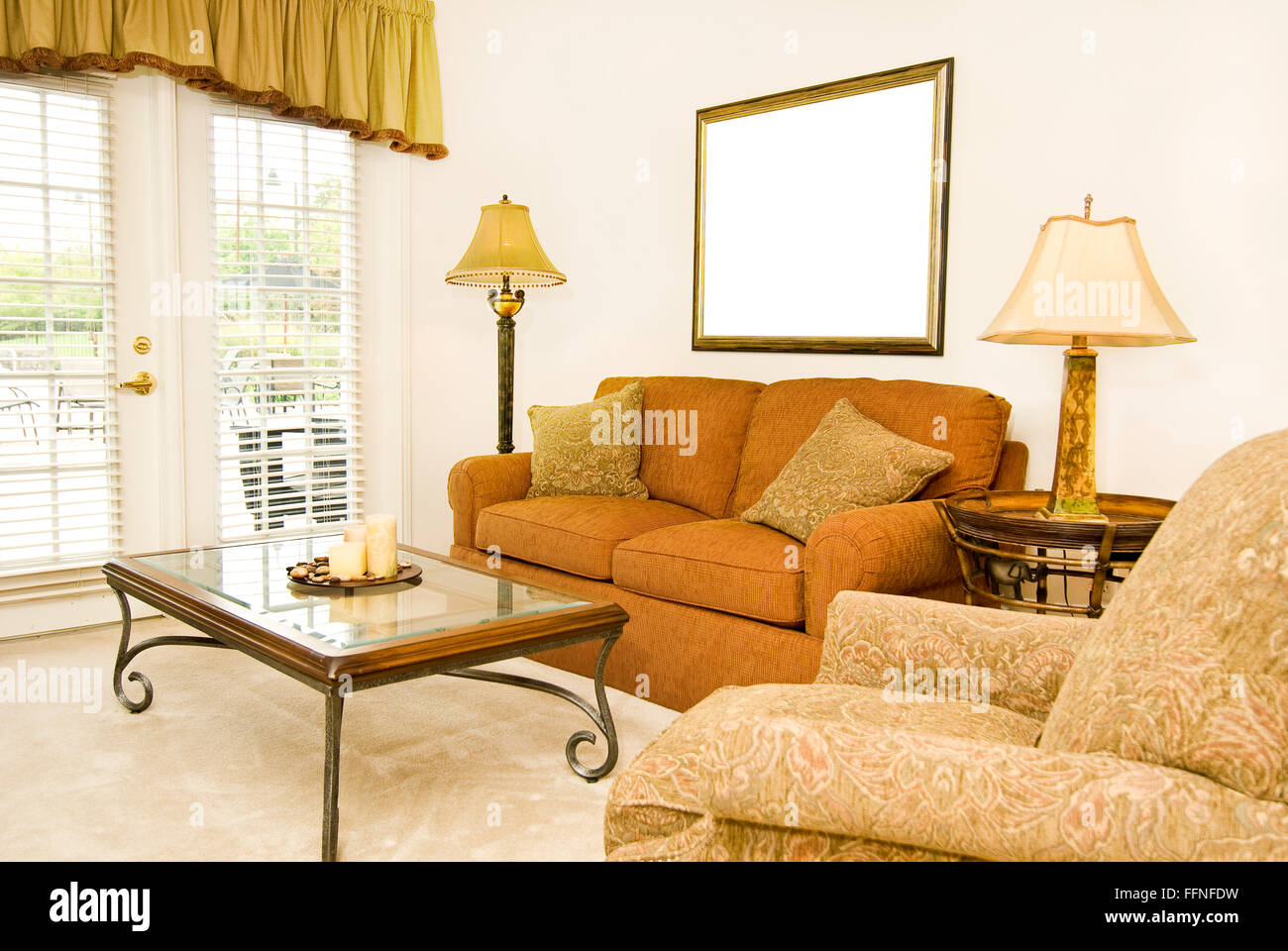 Living Room With Blank Picture Frame - Stock Image