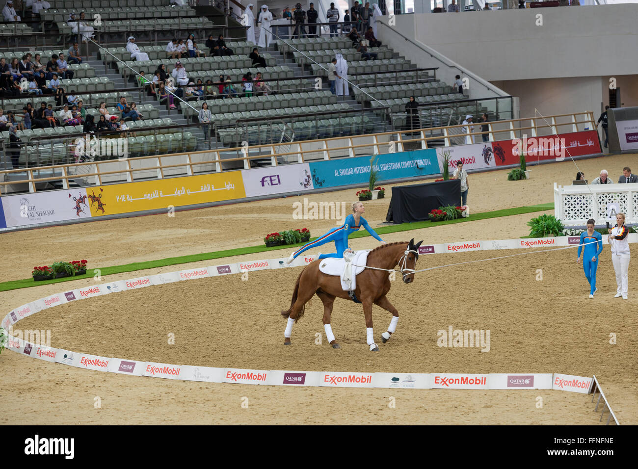 Vaulting competition CHI Al Shaqab 2014 and spectators. - Stock Image