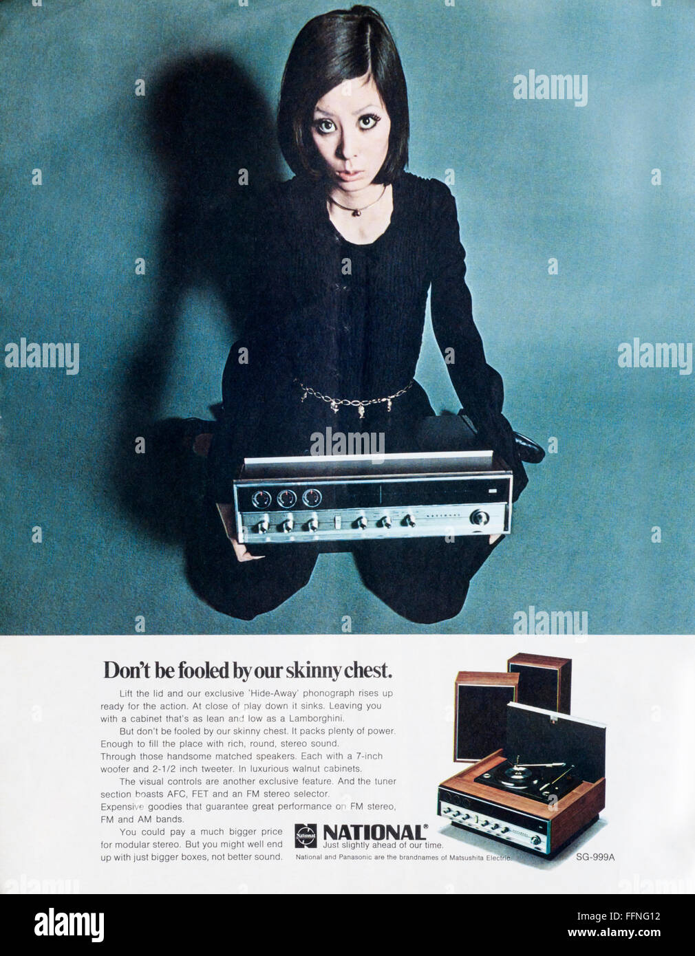 1970s magazine advertisement advertising National Panasonic phonographs - Stock Image
