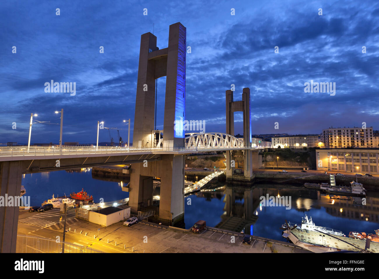Recouvrance Bridge (Pont de Recouvrance) - a massive drawbridge 64 m high in Brest, Brittany, France - Stock Image