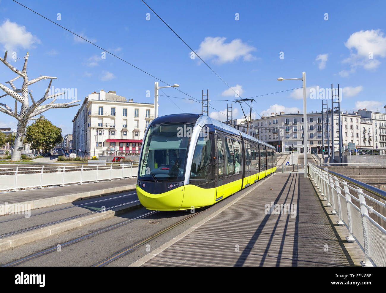 Yellow tram on the street of Brest, Brittany, France - Stock Image