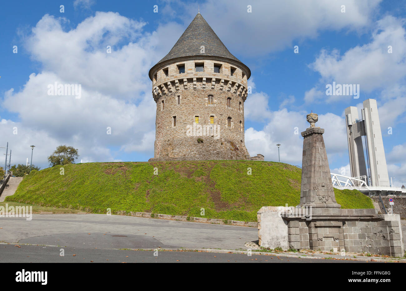 Historical Tanguy tower (Tour Tanguy) - one of the oldest monuments in Brest, Brittany, France - Stock Image