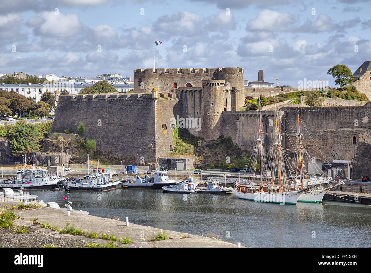 Old castle of city Brest, Brittany, France - Stock Image