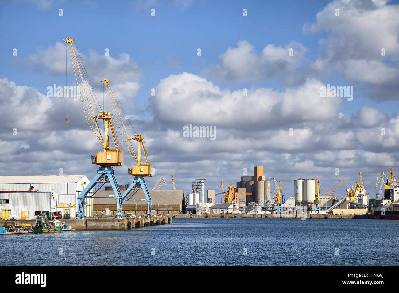 Cranes in the port of Brest, Brittany, France - Stock Image
