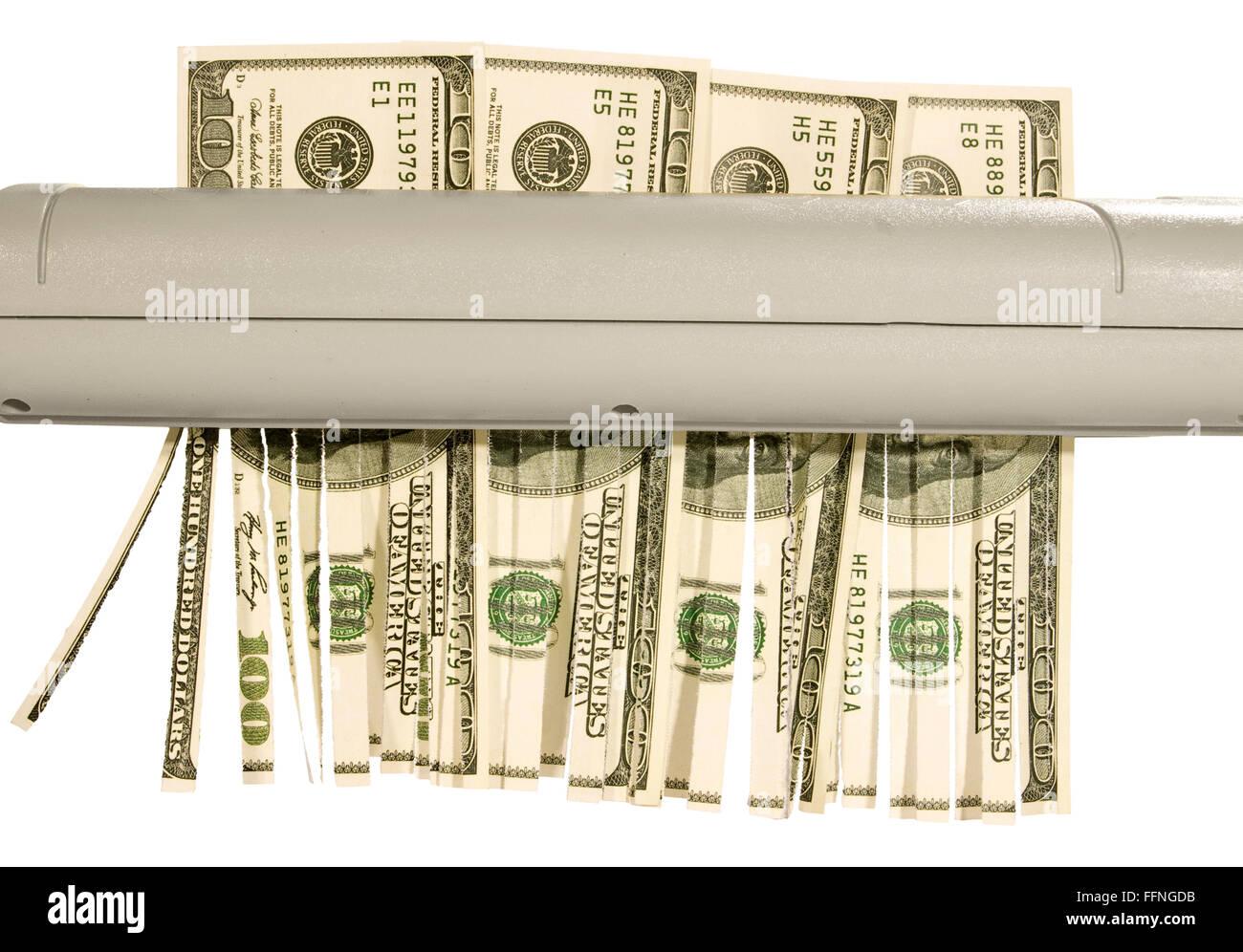 Shedding Hundred Dollar Bills - Stock Image