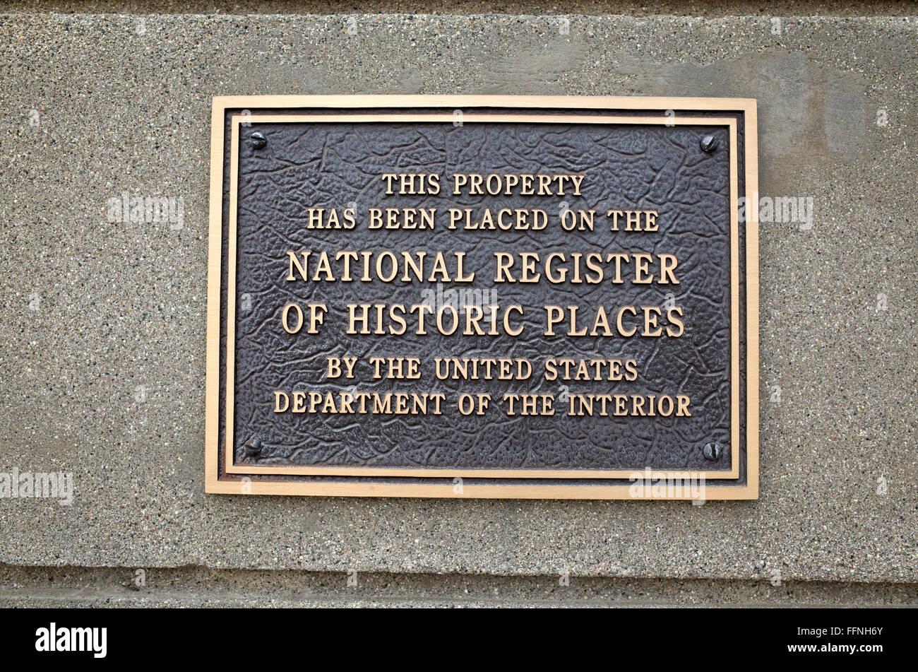 Plaque placing historic WPA fieldstone auditorium on the National Register of Historic Places. Brandon Minnesota Stock Photo