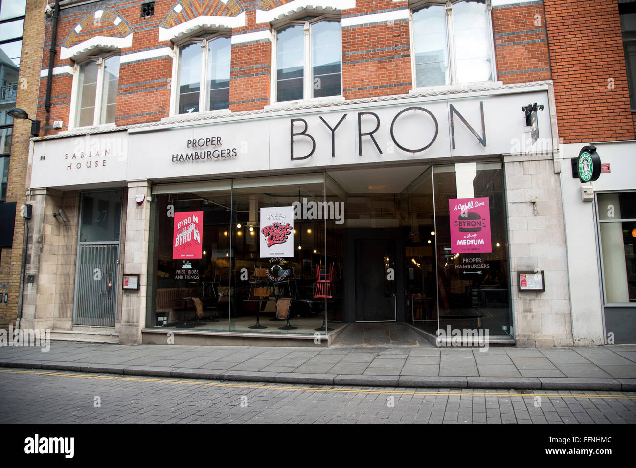 Byron hamburger joint restaurant cafe - Stock Image