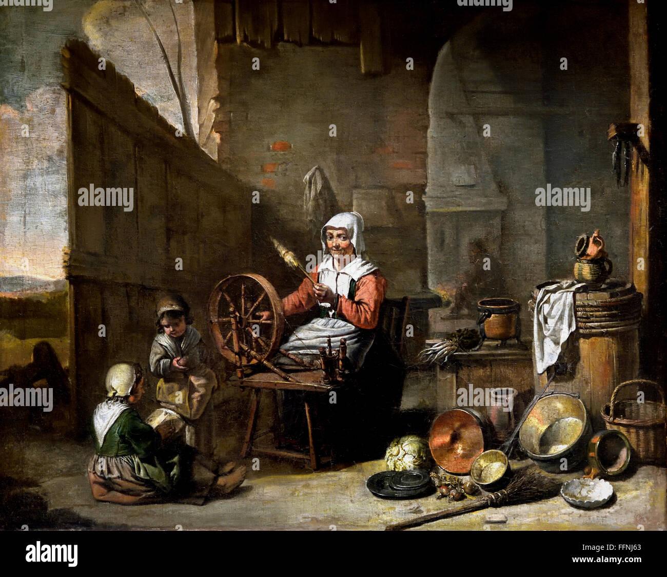La Fileuse Le Maître de Béguin - The Spinner Active Master Beguin Fleming Paris 17th Century - Stock Image