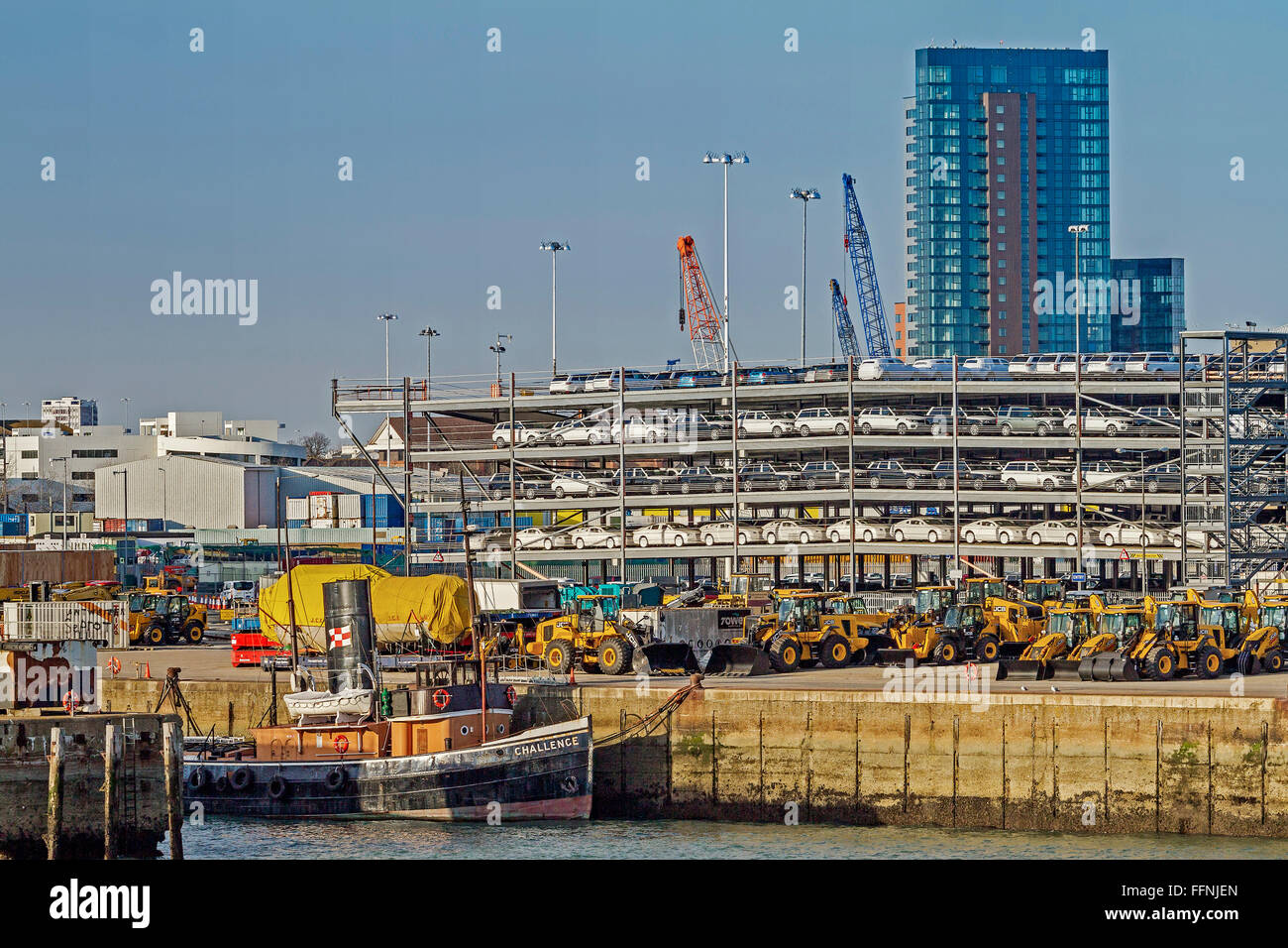 Vehi cles For Export At The Dock Southampton UK - Stock Image